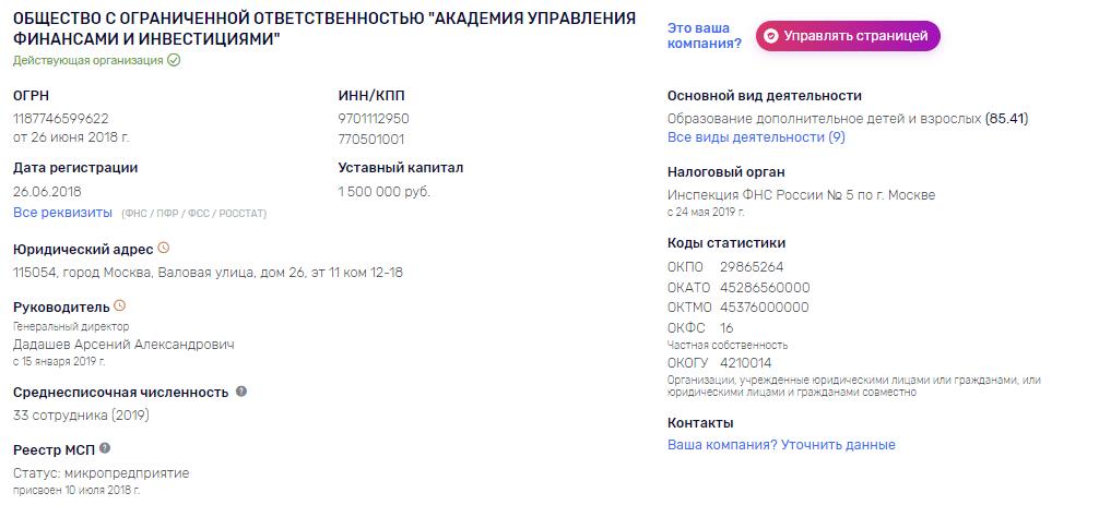 Уставной капитал ООО АУФИ